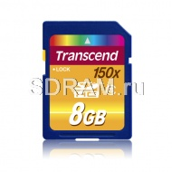 Карта памяти 8GB Secure Digital Card, High Capacity (SDHC) Class 6, 150Х Transcend